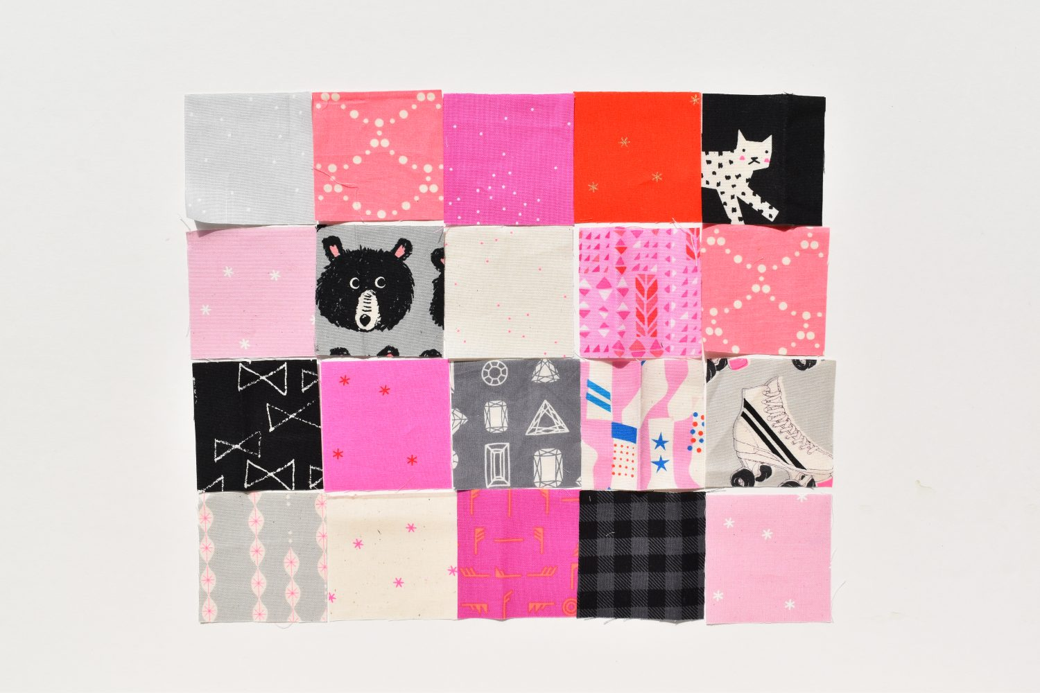 sew scrappy squares together