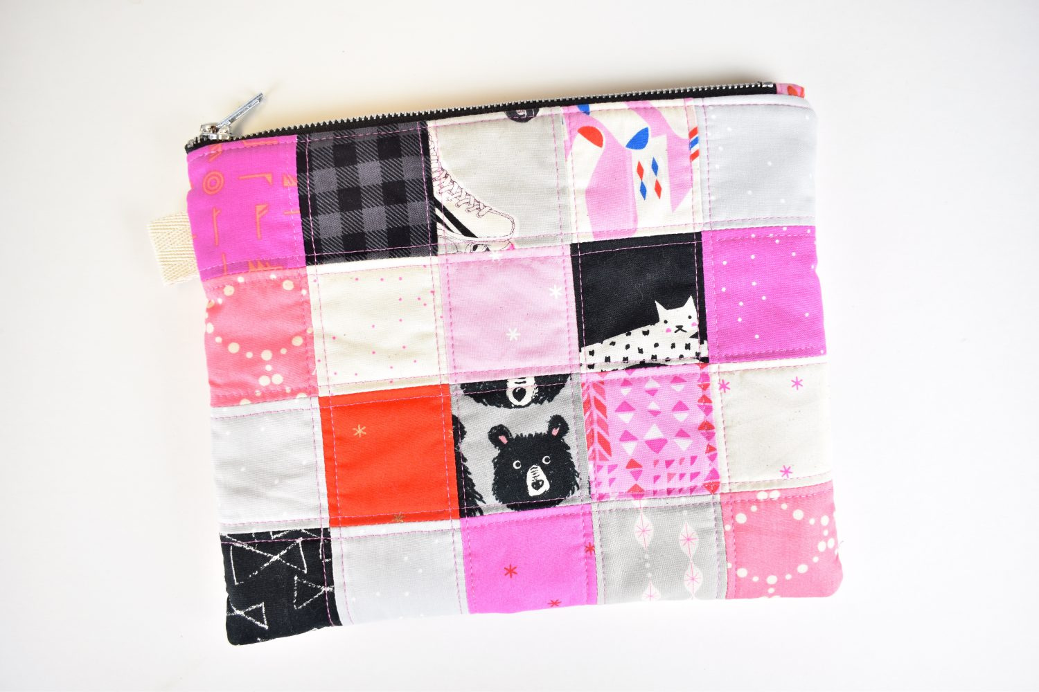 finished scrappy zipper pouch