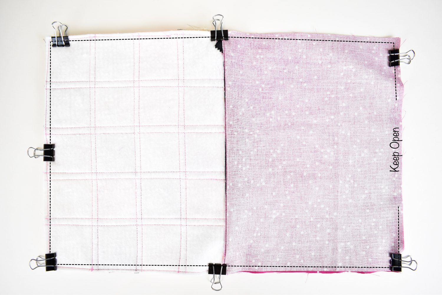 """sew all around scrappy zipper pouch, leaving a 4"""" opening in the lining bottom"""