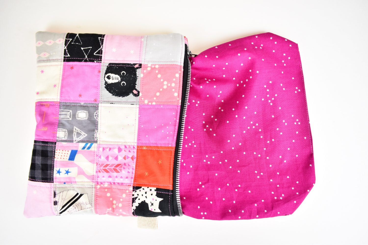 turn scrappy zipper pouch right side out