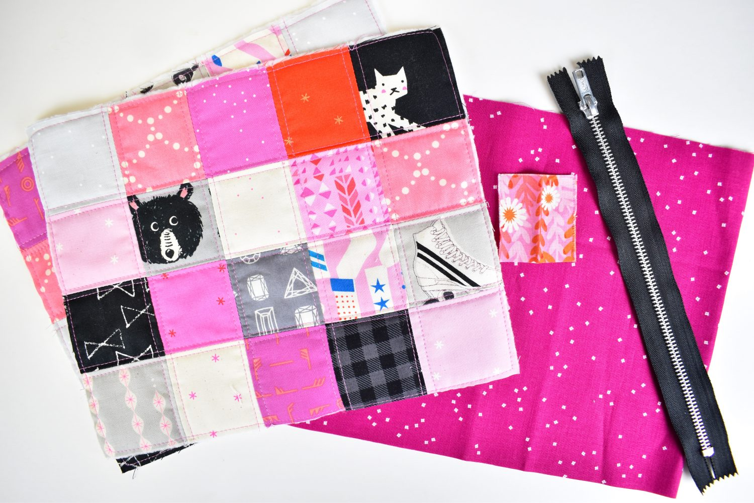 supplies for free scrappy zipper pouch tutorial
