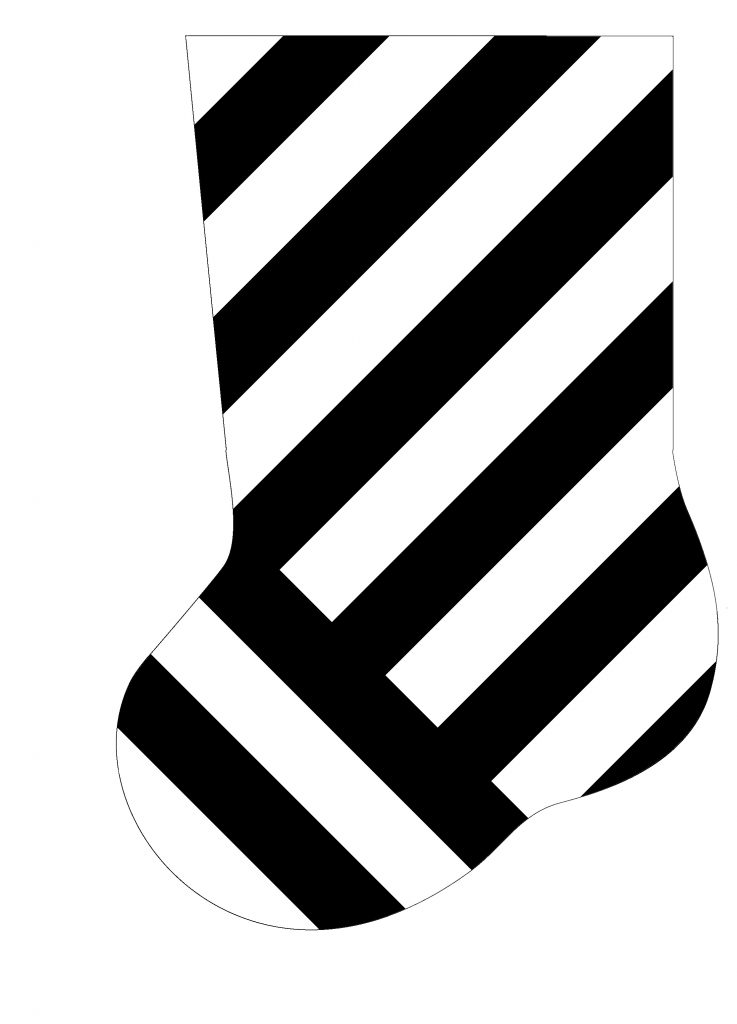 Linear pattern as a Christmas stocking