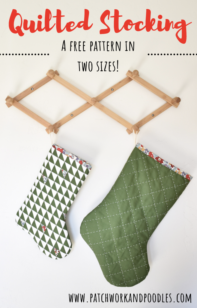 Make quilted Christmas stockings in two sizes free!