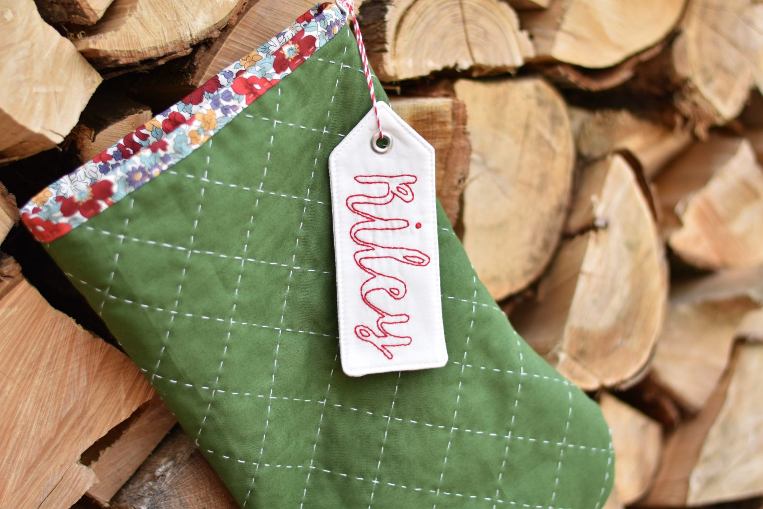 hand embroidered stocking tag