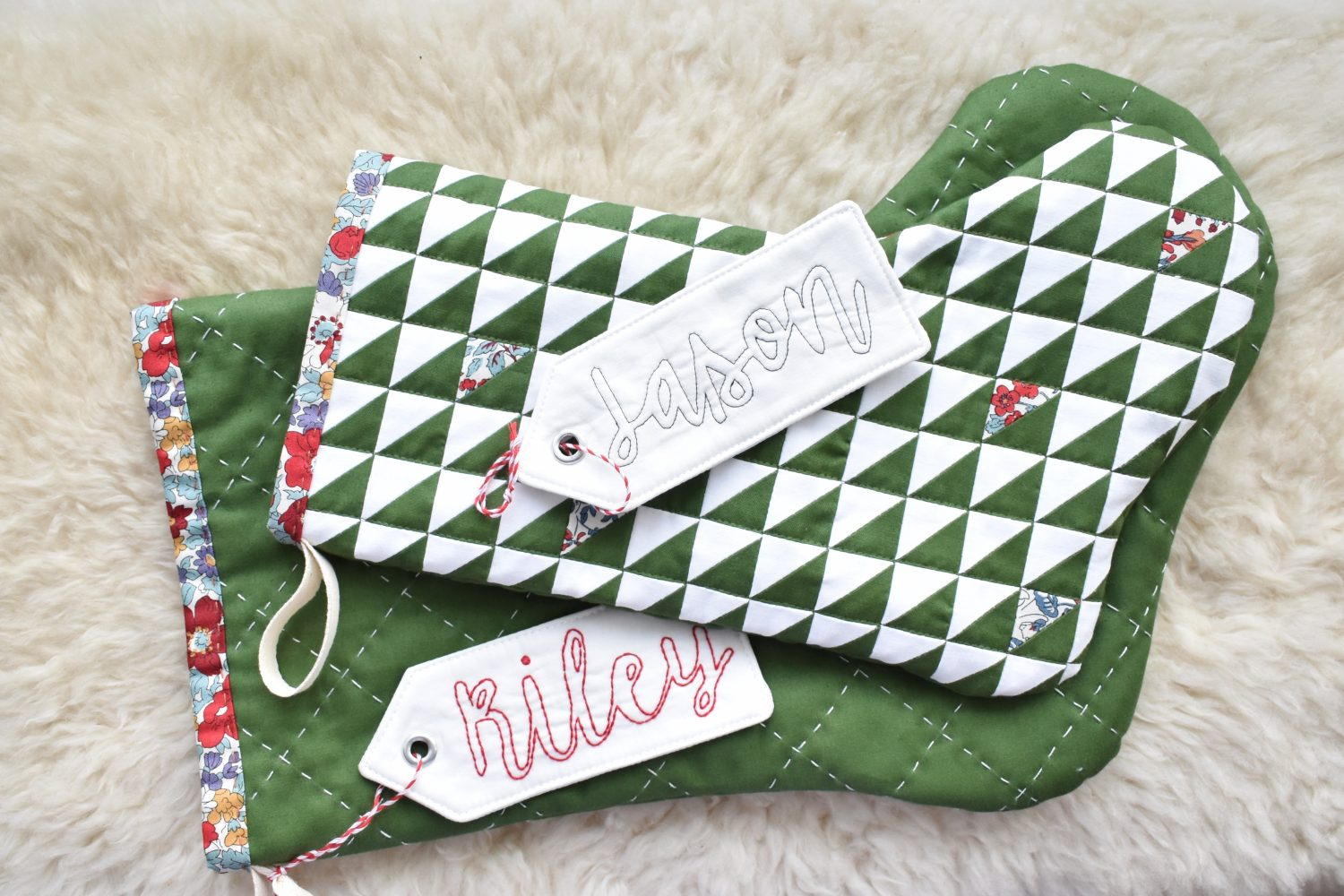 Christmas stocking tag tutorial with stocking in two sizes