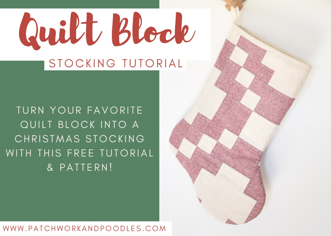 turn a quilt block into a christmas stocking