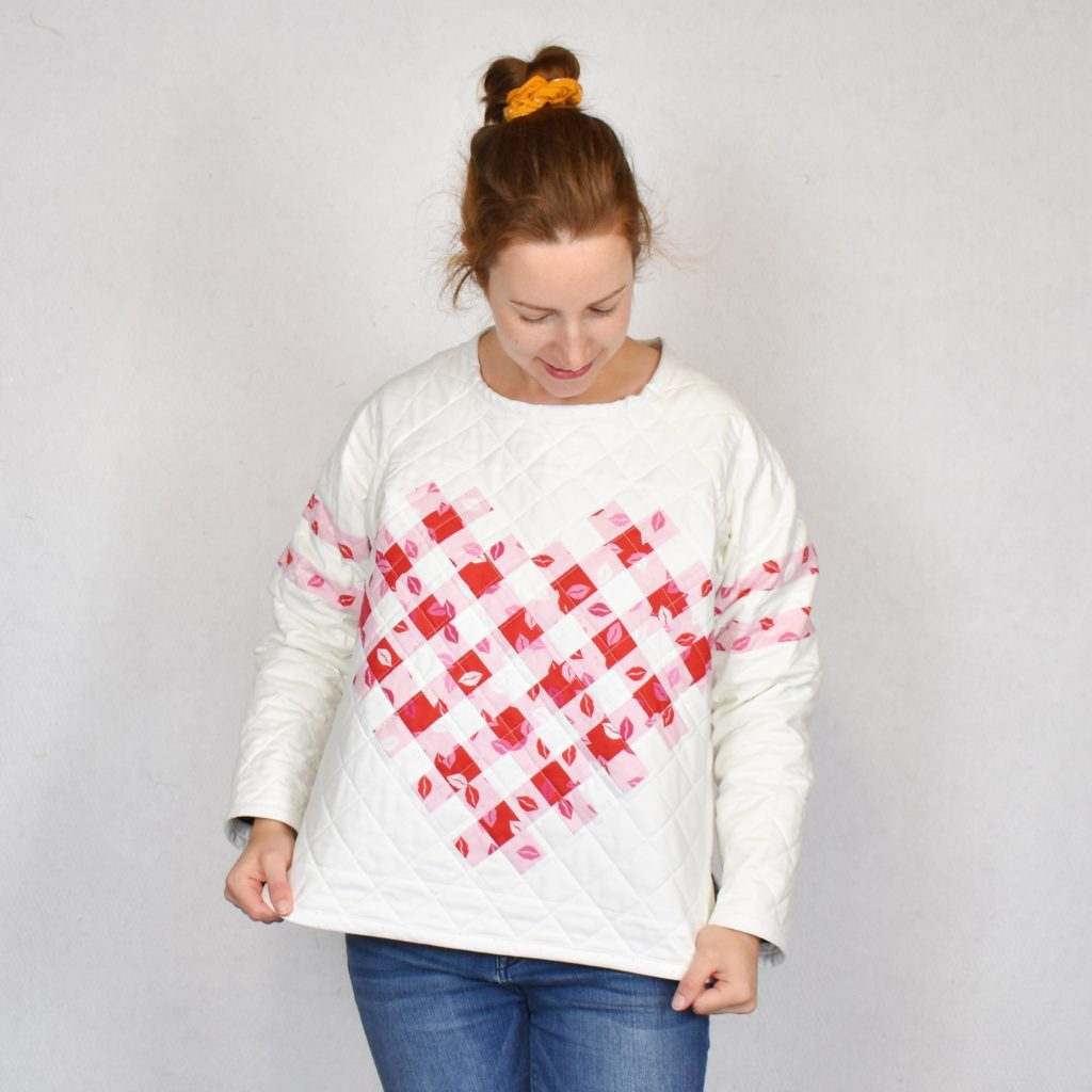 Woven Hearts quilted sweater
