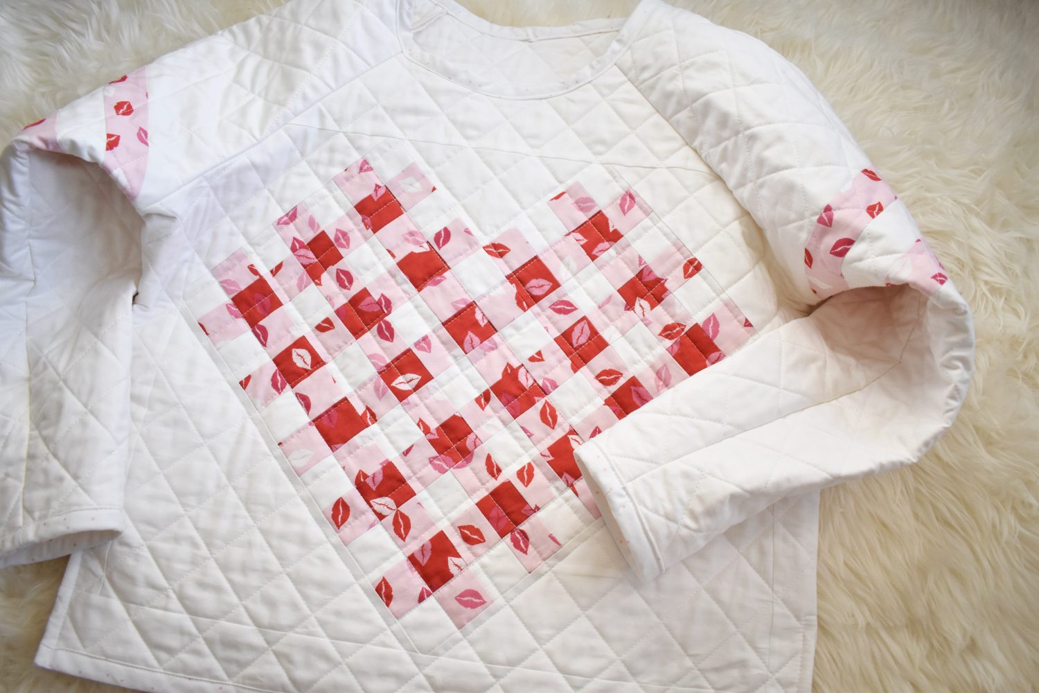 quilted sweater with woven heart quilt block
