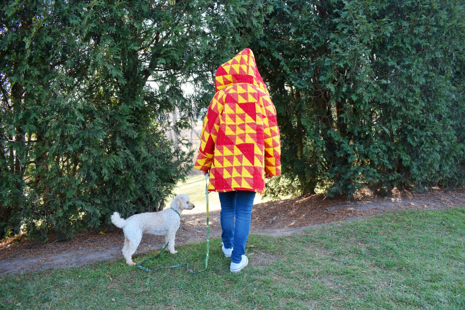 cozy yellow and red quilt coat