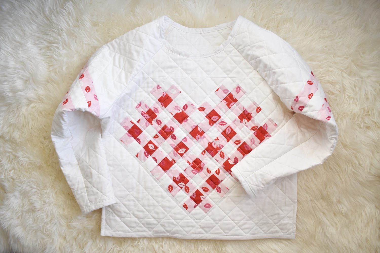 woven heart quilt sweater