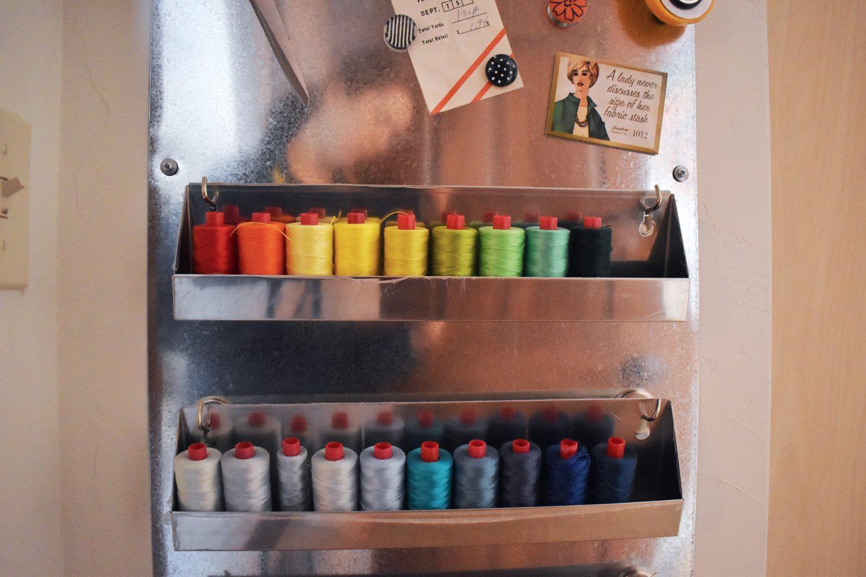 Rainbow hand quilting thread in storage trays