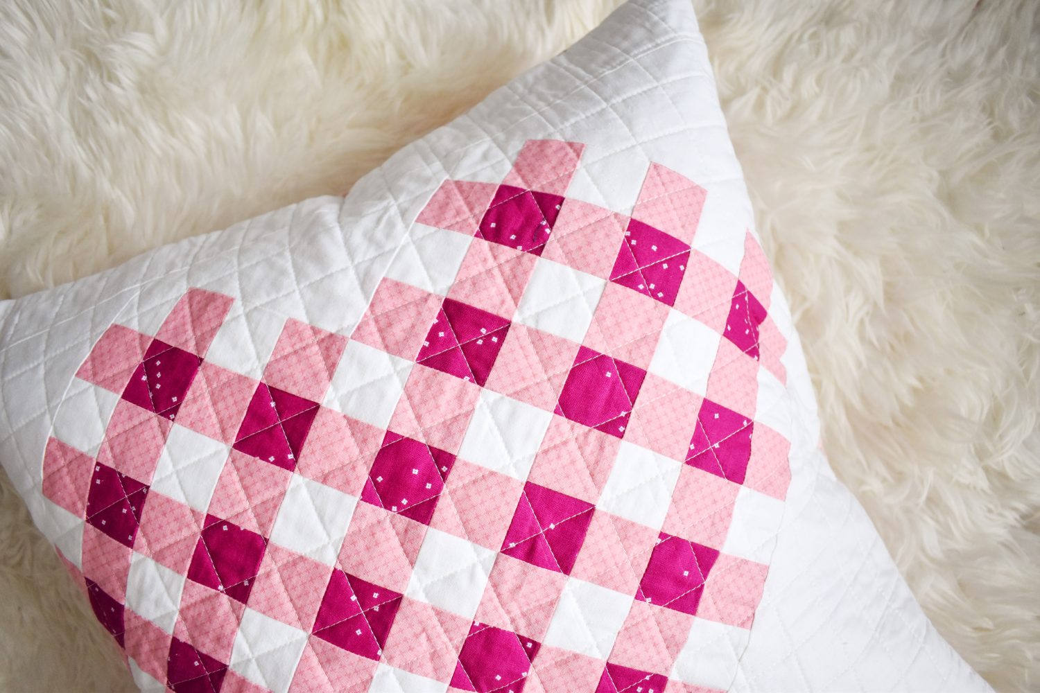 Woven Hearts pillow made with Riley Blake Designs basics