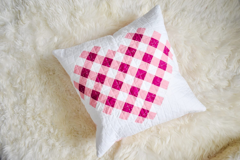 Blossom and Kisses basics fabrics in heart pillow