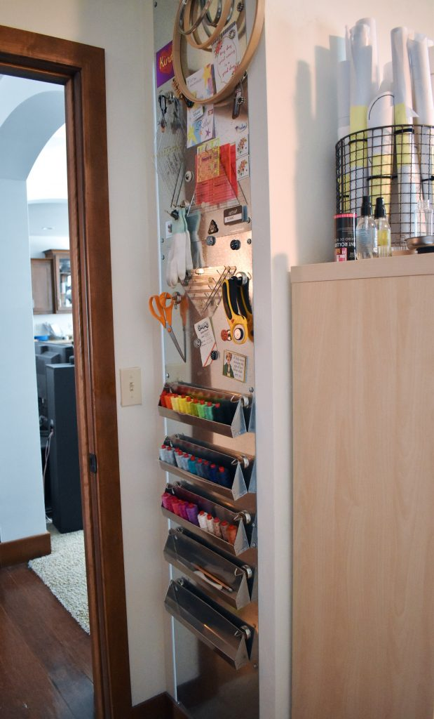 Magnetic wall for quilting storage