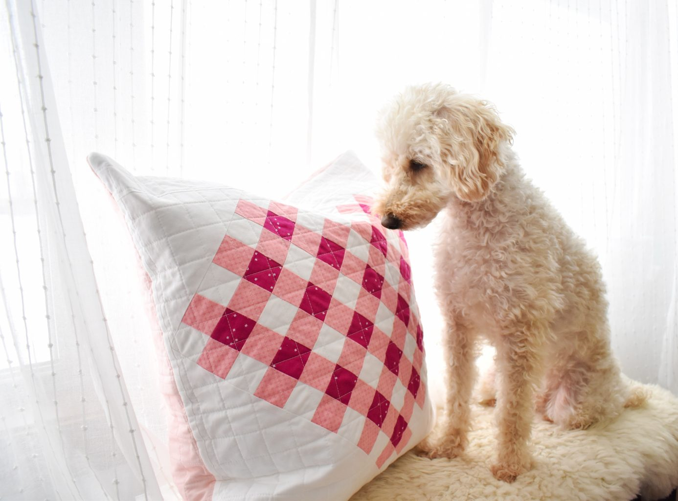 gingham quilted heart pillow