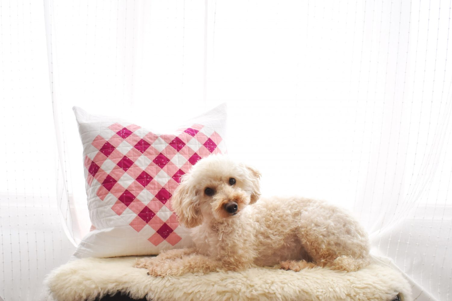 Woven Hearts pillow made with Riley Blake Designs fabrics