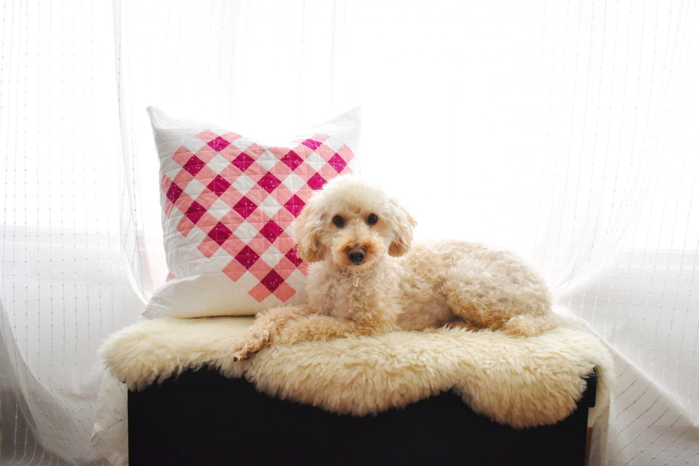 gingham heart pillow