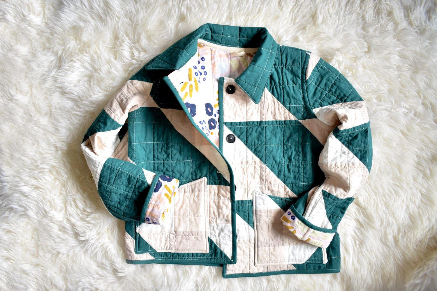 A fun quilt coat made with the Cirrus quilt pattern