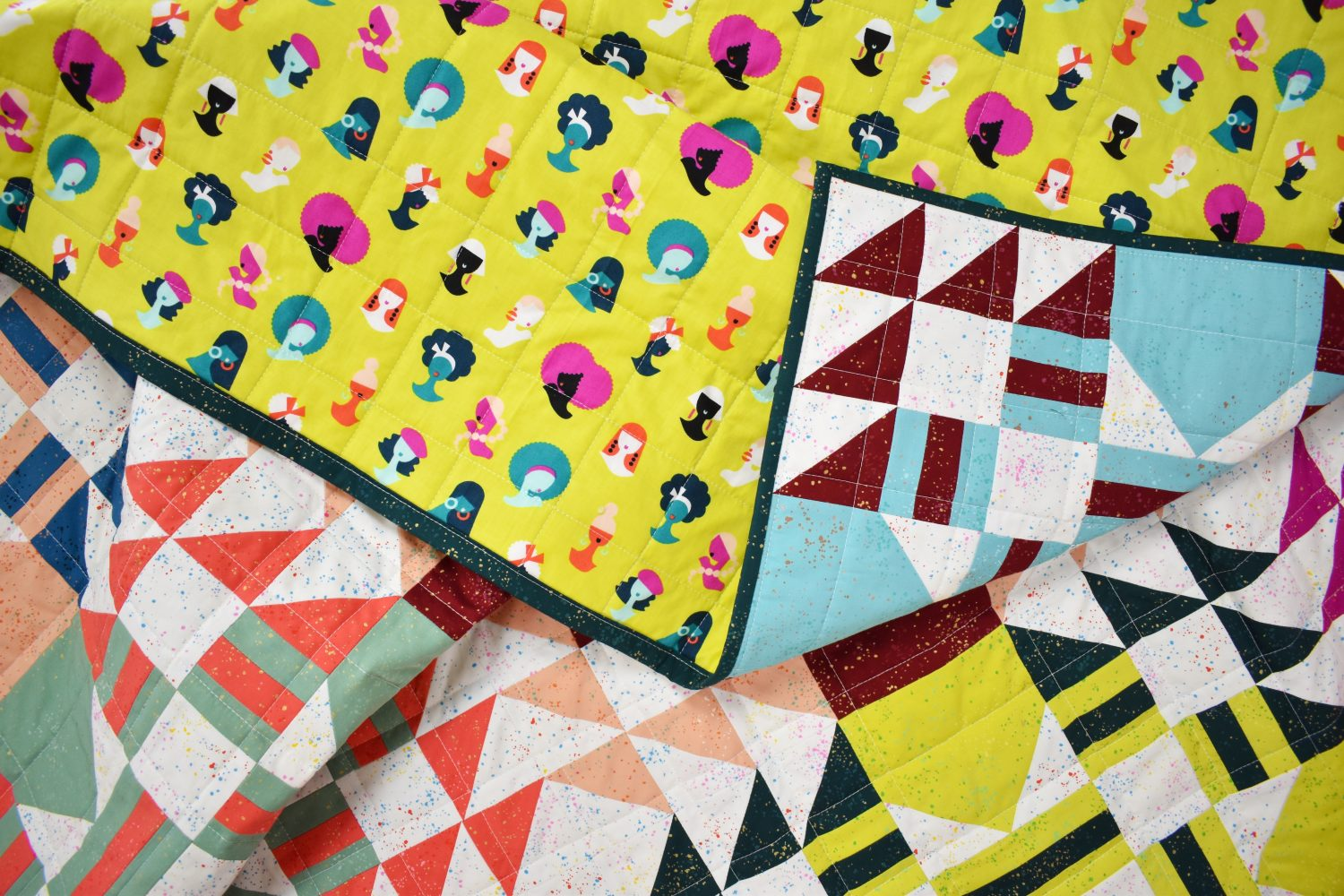 Modern quilt in Speckled fabrics with Adorn backing