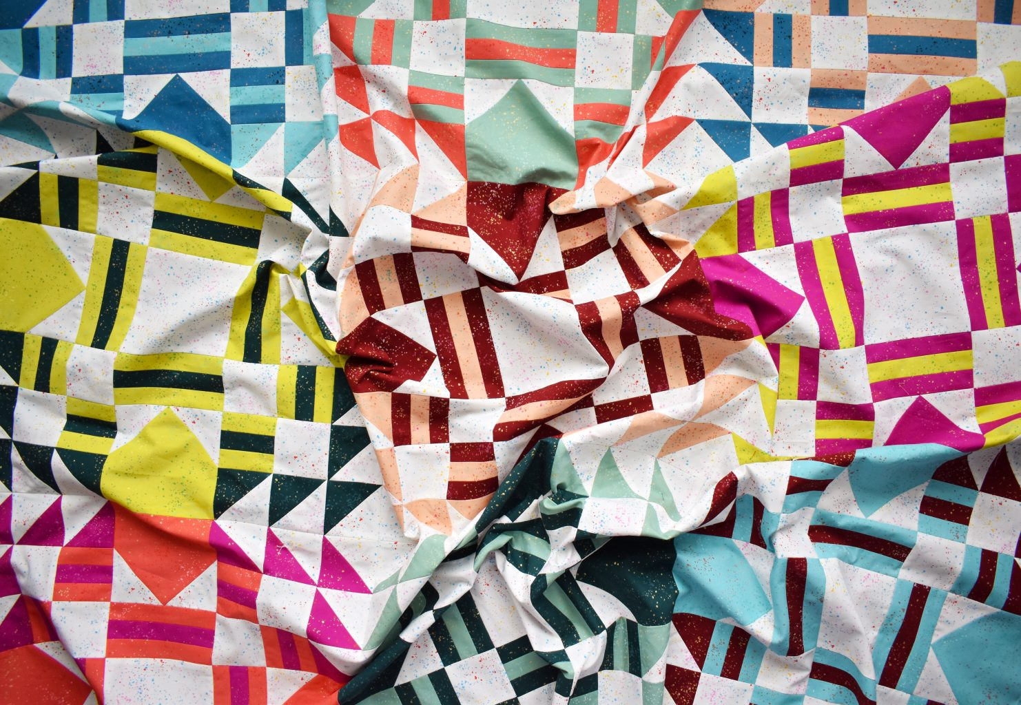 The Everglow quilt is a fun, modern pattern with many seams