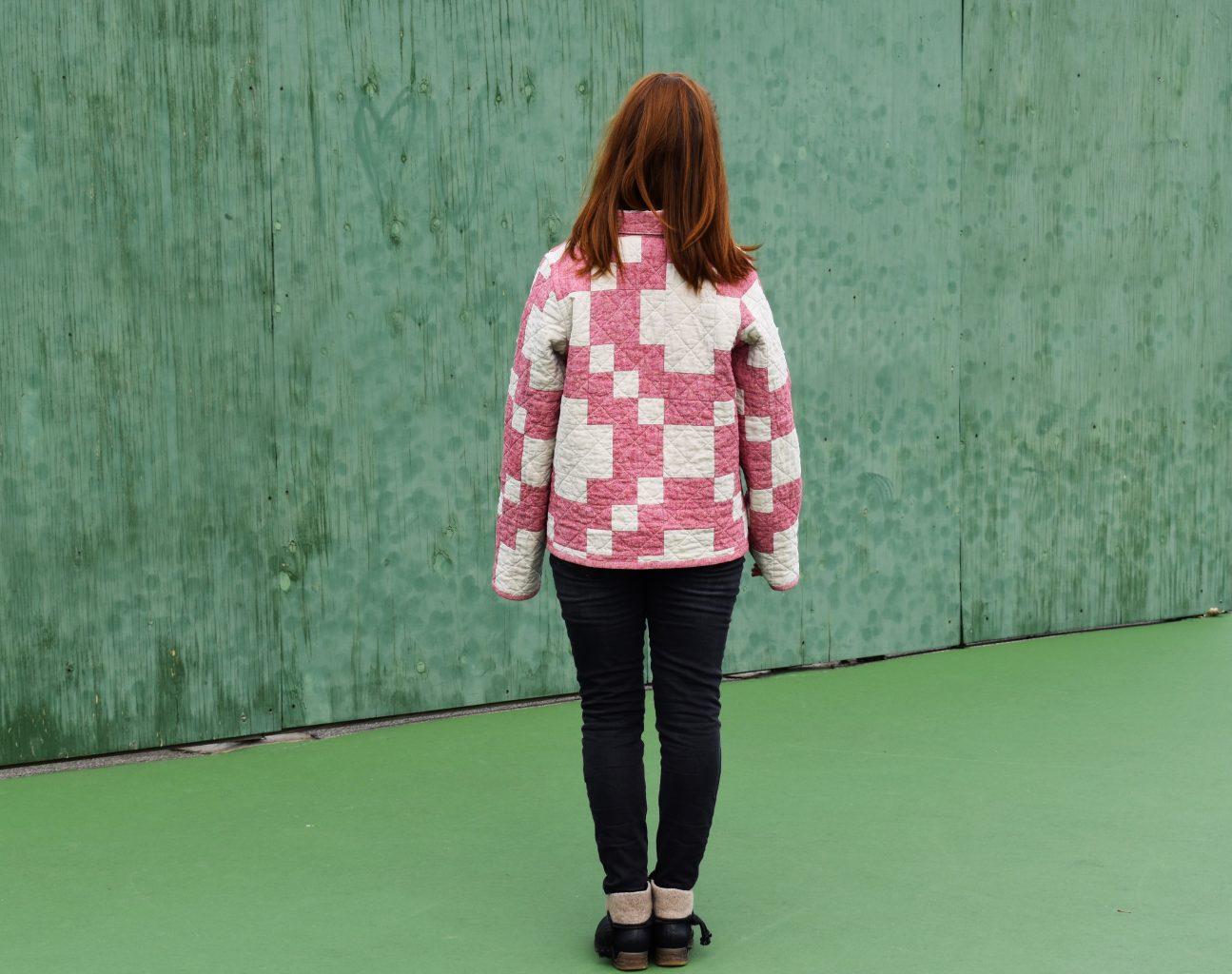 Modern Crossing quilt as a quilt coat