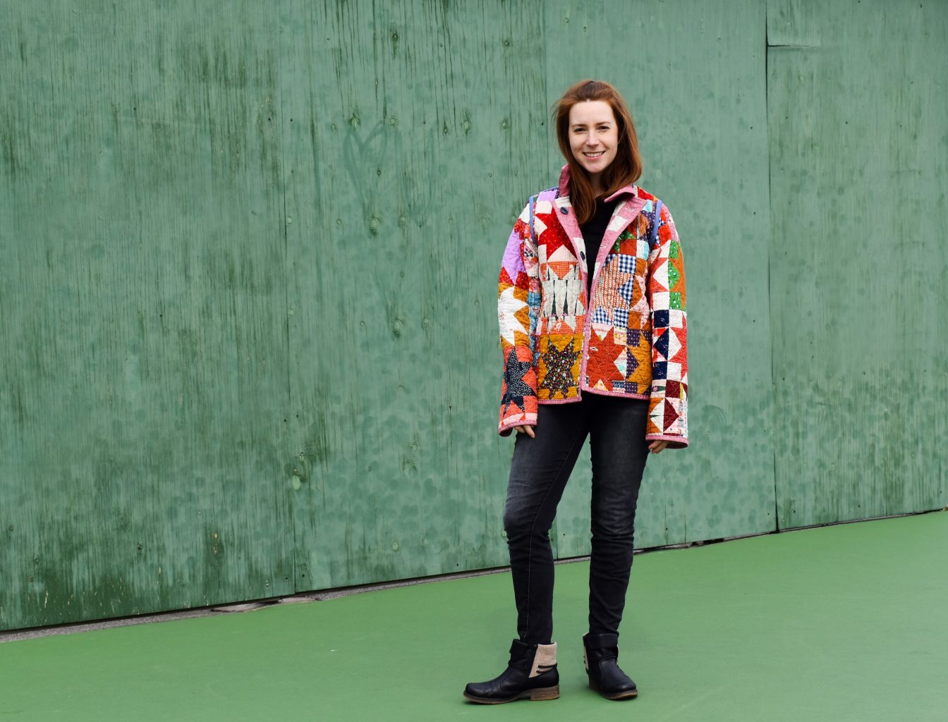 Sawtooth Star scrappy quilt coat