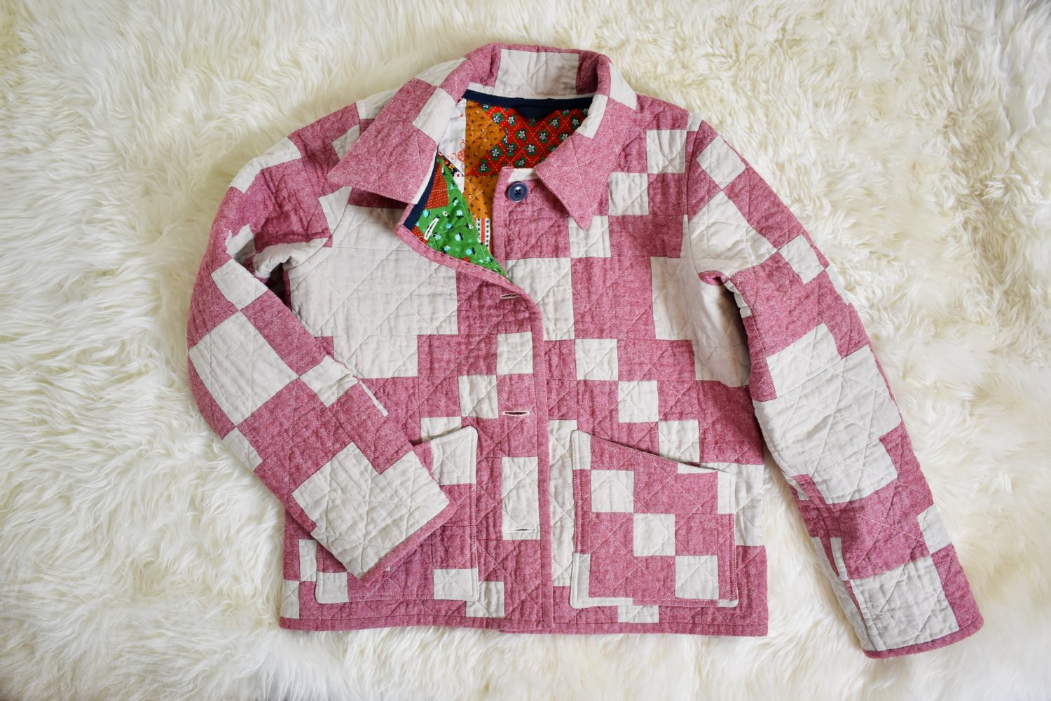 The Patchwork Chore Coat pattern makes a great modern and stylish quilt coat!
