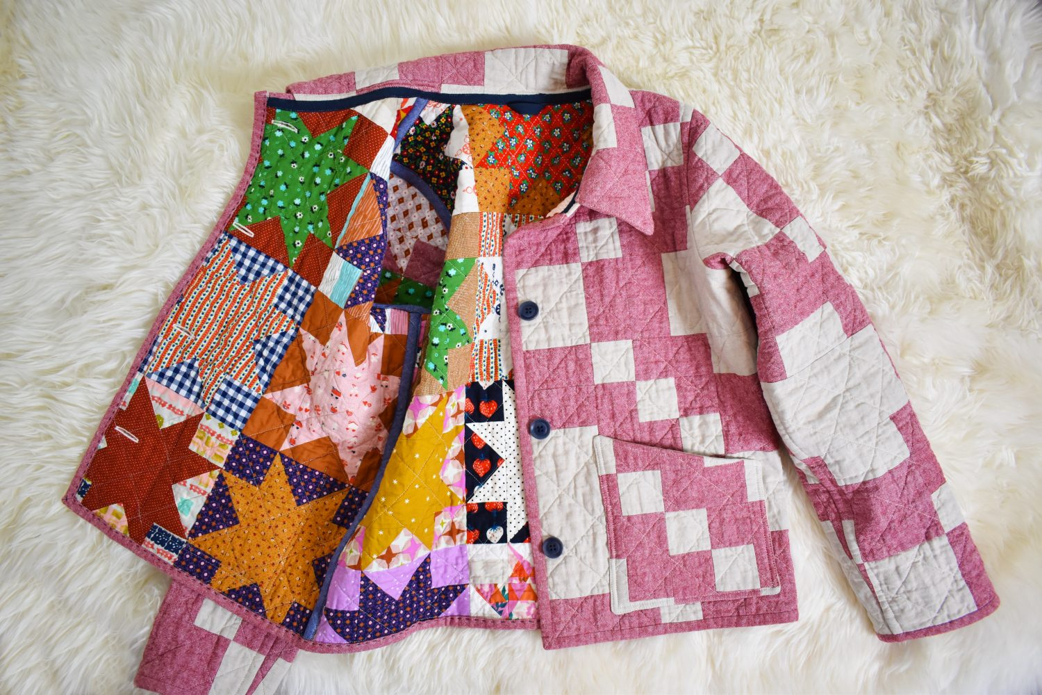 Reversible quilt coat - muted on one side and fun and loud on the other