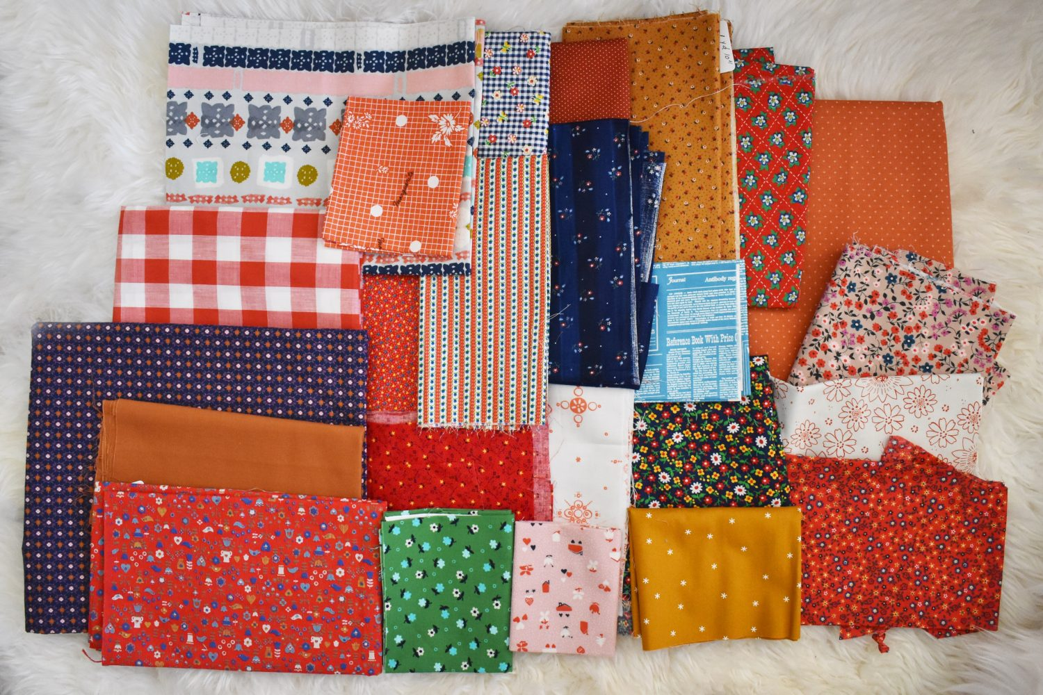 A 1970's inspired fabric pull with vintage fabrics and modern ones too