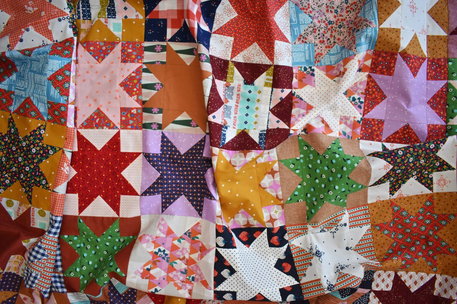 A 1970's inspired star quilt