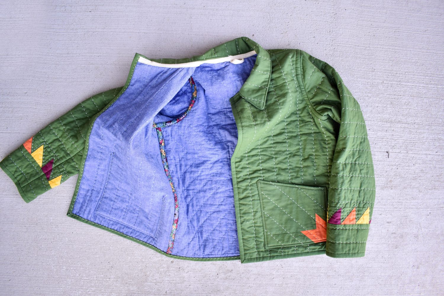 chambray lined quilt coat