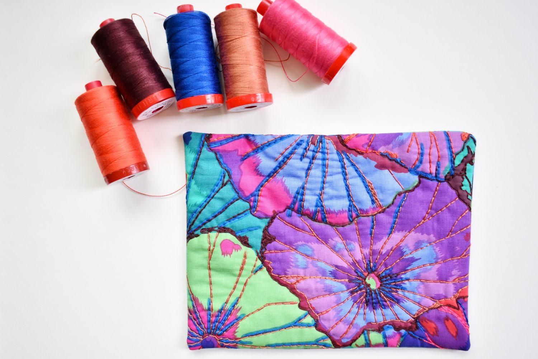 hand quilting a mug rug with Aurifil thread