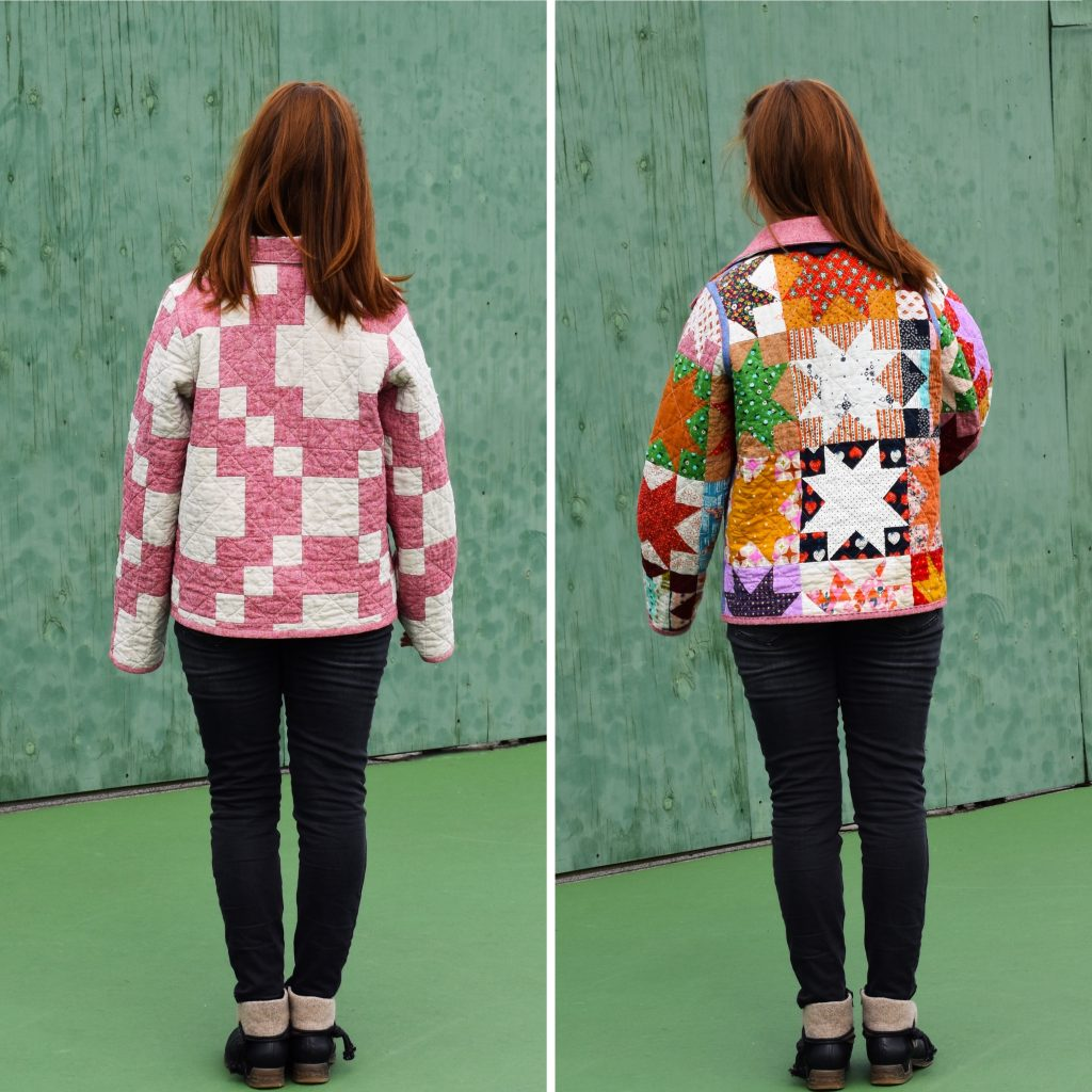Two looks, one coat with a reversible quilt coat