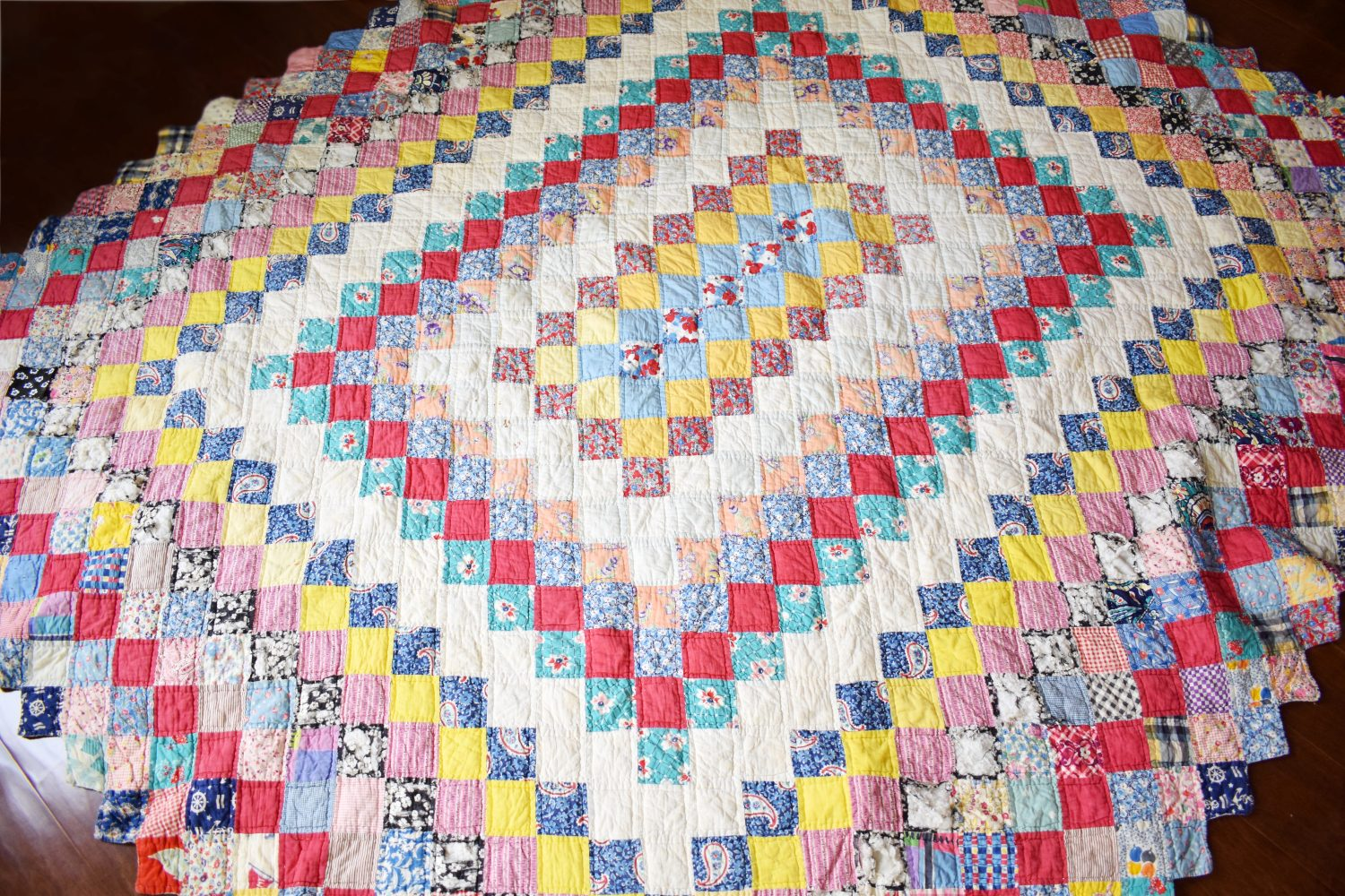 A vintage quilt, after washing