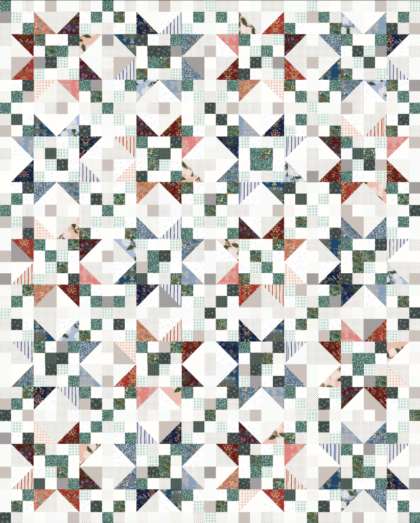 A scrappy Starlite quilt mock-up
