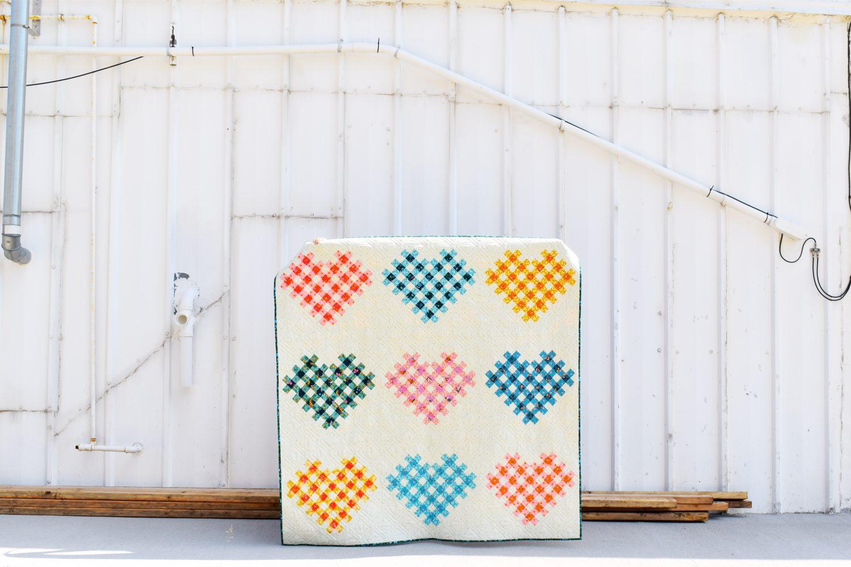 modern heart quilt