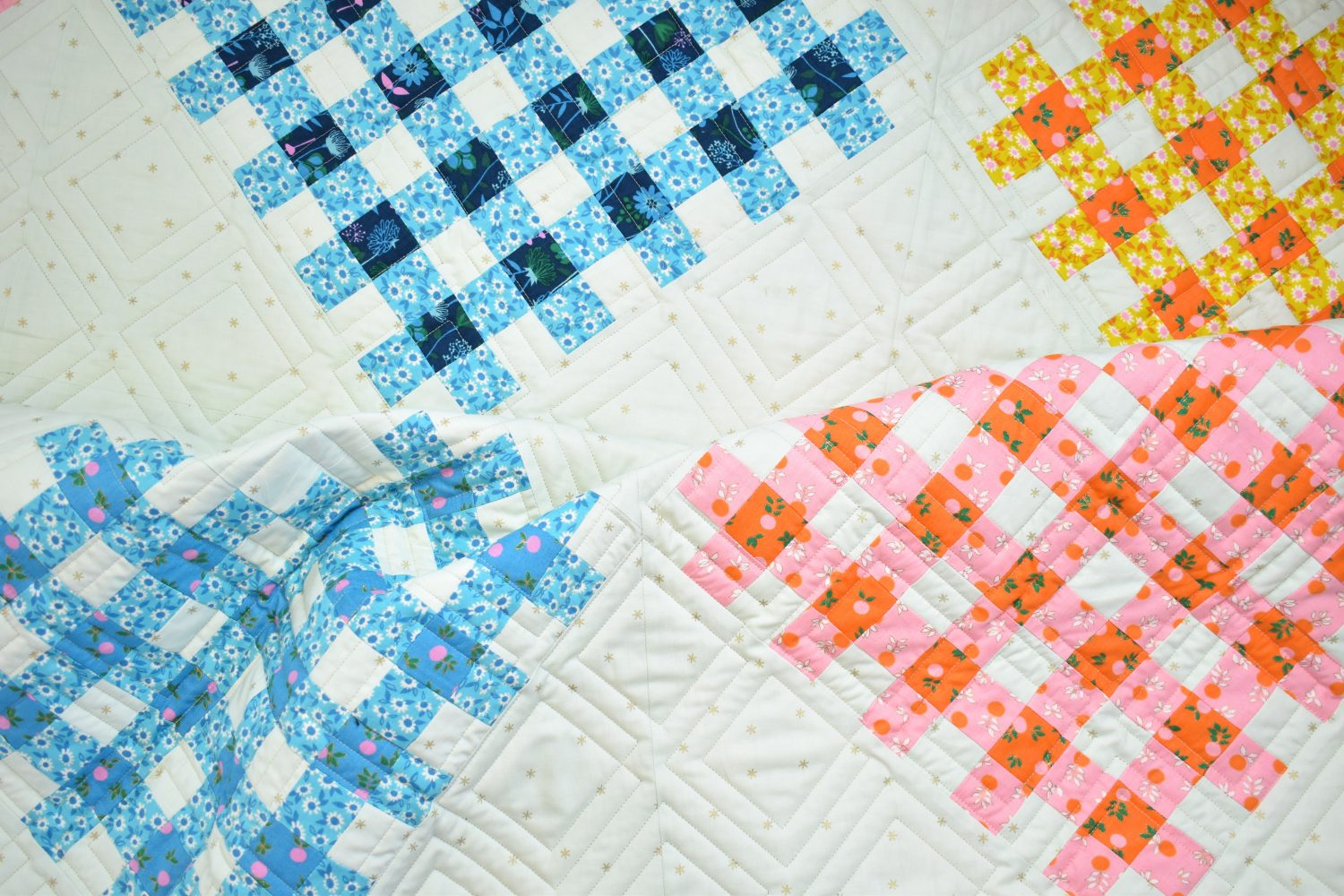 woven hearts quilt in RSS fabric