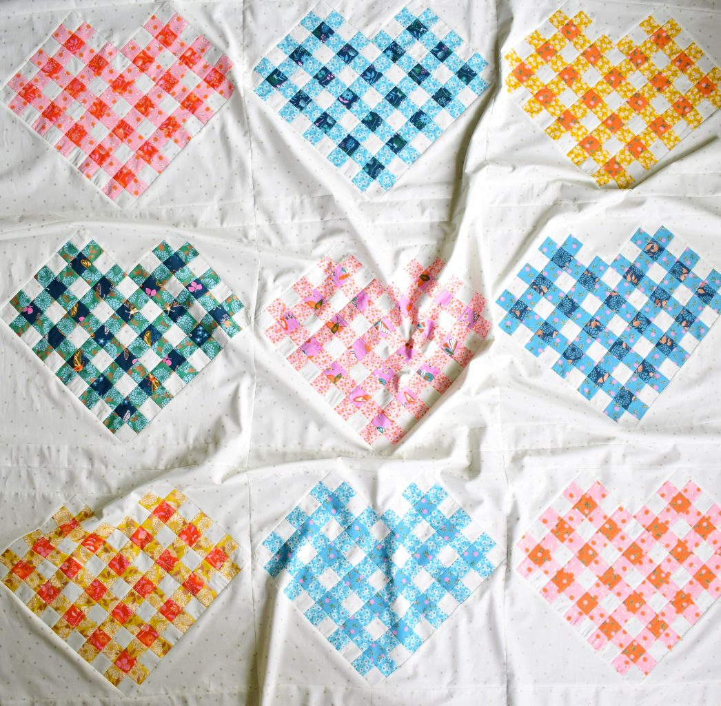 Woven Hearts quilt top