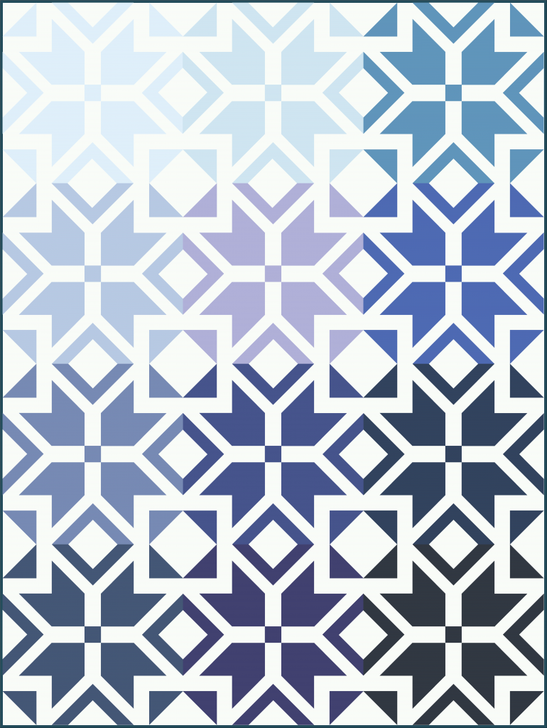 lap size Nordic Star quilt in blue ombre