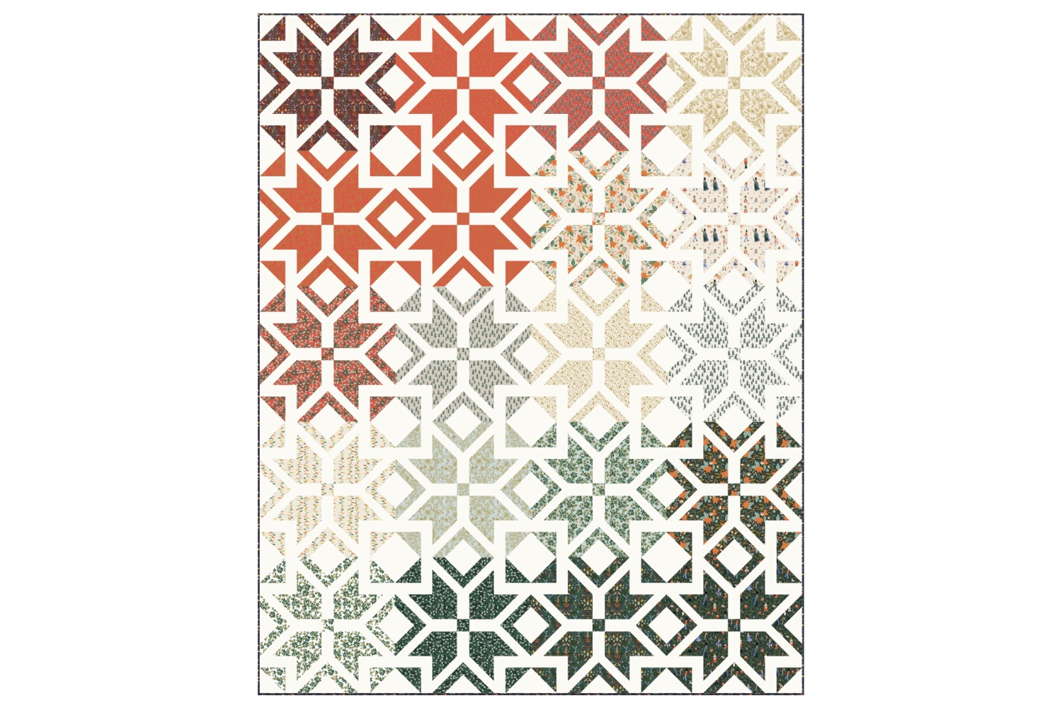 Throw size Nordic Star quilt in Rifle Paper Co. Holiday