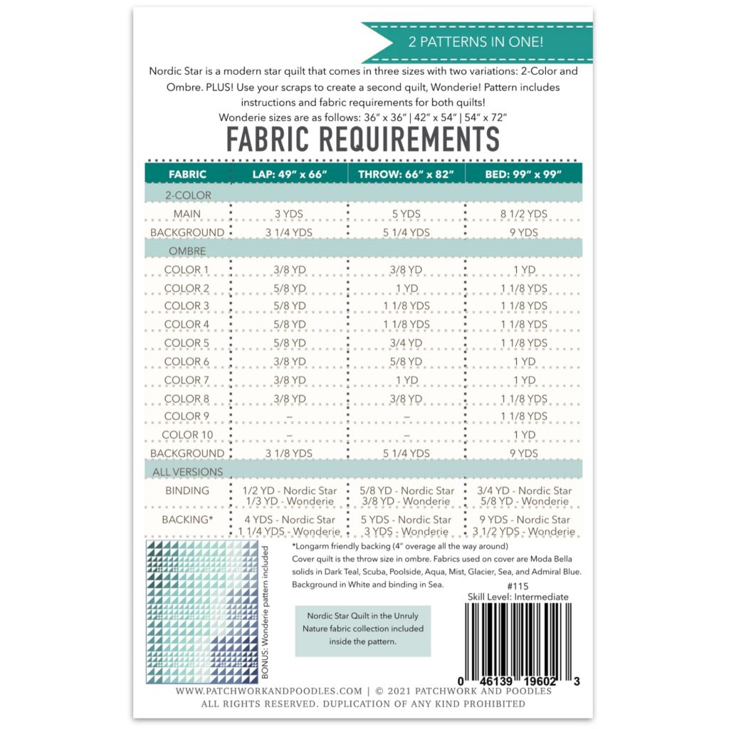 Nordic Star Quilt fabric requirements